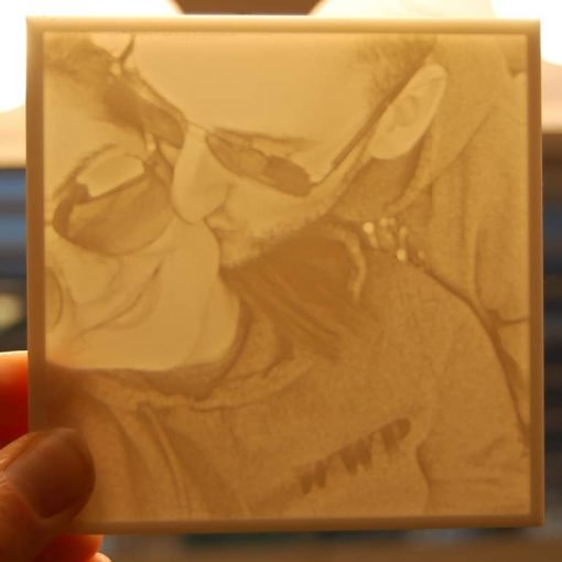 Couple photo carved piece - light on