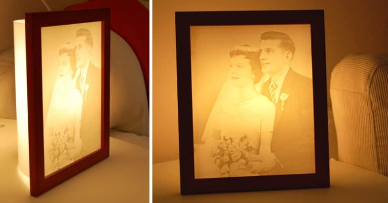 Wedding photo turned into an anniversary gift -Photo carved lamp