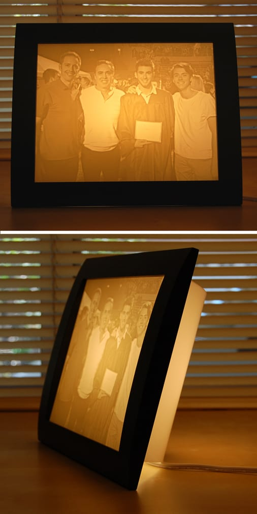 Graduation photo turned into a personalized photo gift idea - carved lamp