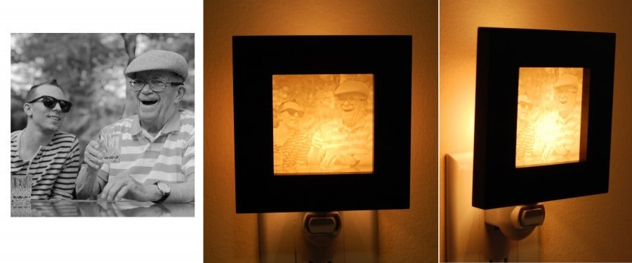 Grandfather and grandson photo turned into Night Light