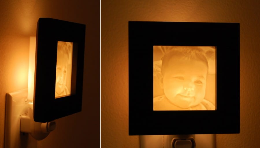 Gift for Grandparents - Baby photo carved Night Light