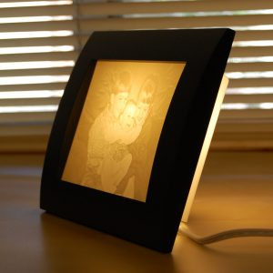Kids photo turned into photo carved gift lamp