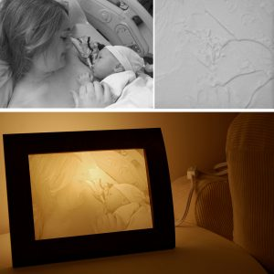 Newborn photo carved lamp - mothers day gift idea