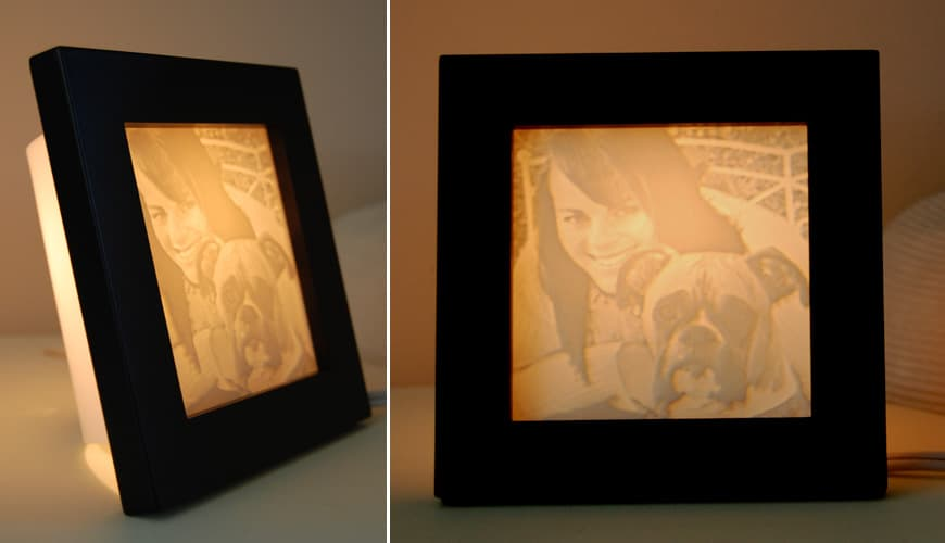 Pet memory lamp based on a photo of a dog with owner