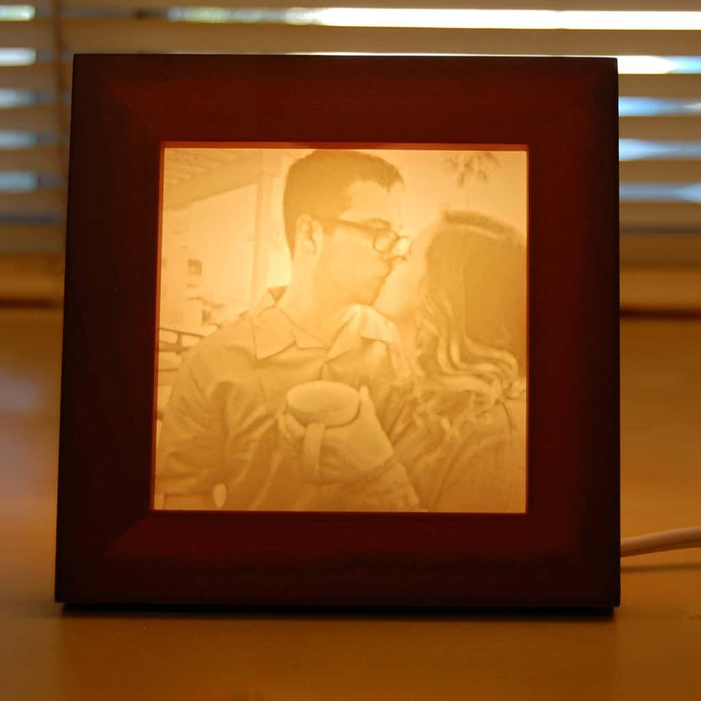 Valentine's Day Gift for her - photo carved lamp - front