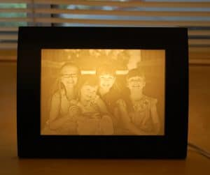Four sisters smiling photo lamp