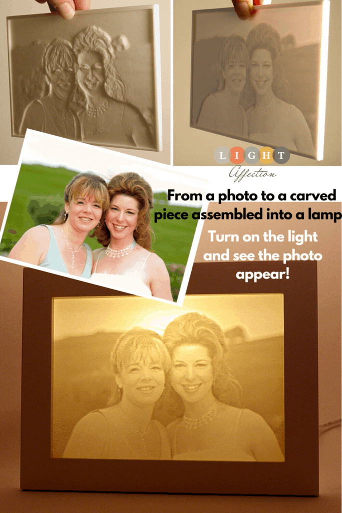 Mother daughter wedding photo turned into one-of-a-kind lamp gift.